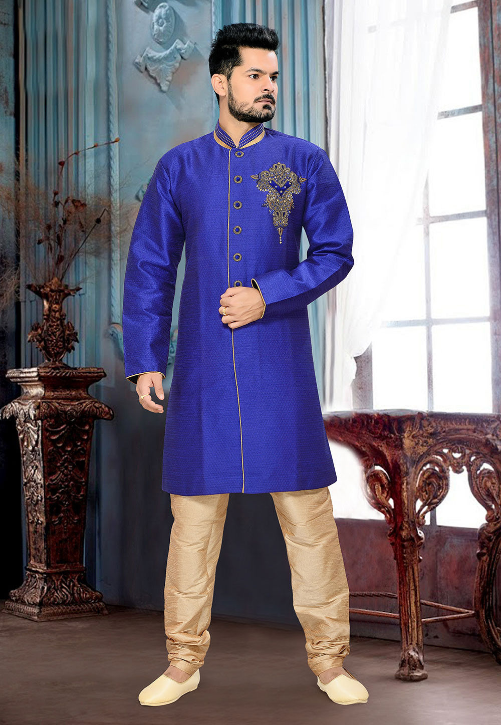 Embroidered Jacquard Sherwani in Blue