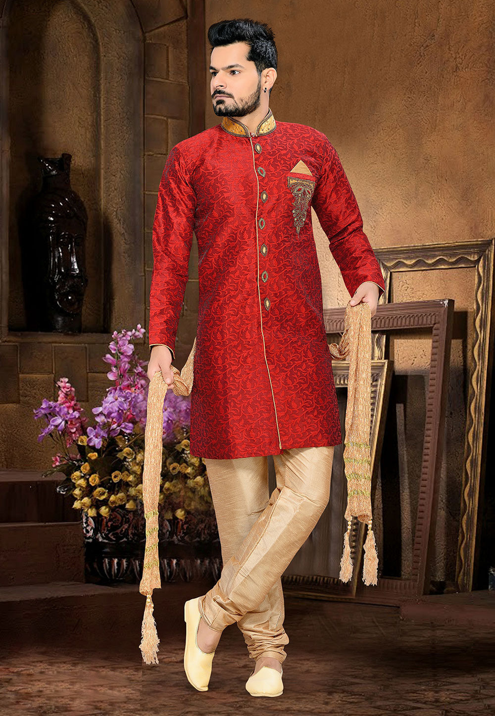 Embroidered Jacquard Sherwani in Maroon