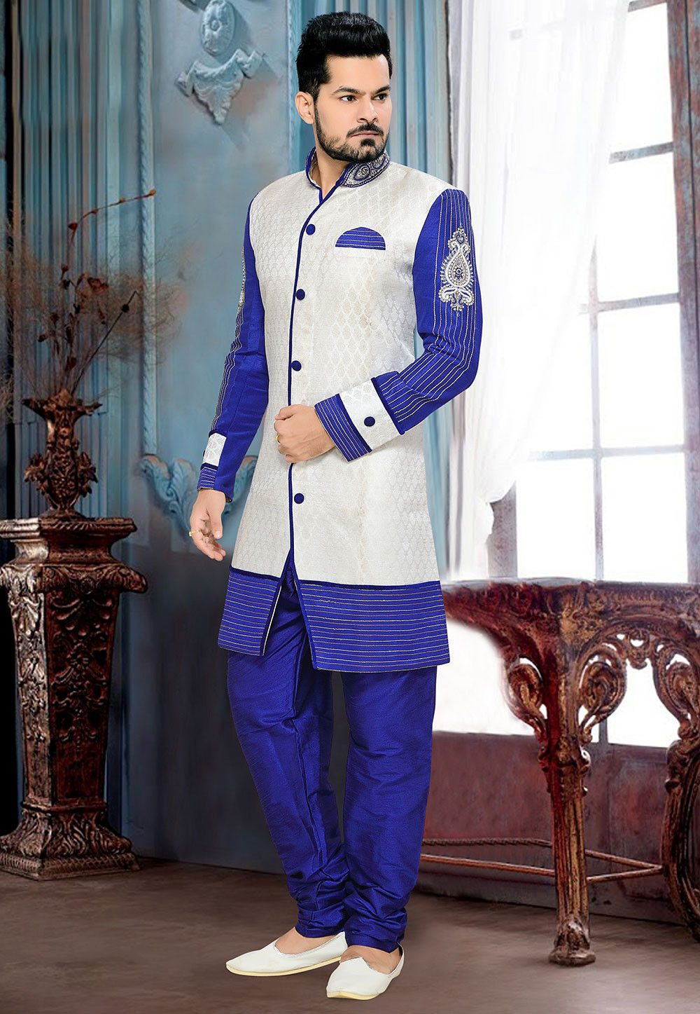 Embroidered Brocade Sherwani in Off White and Royal Blue