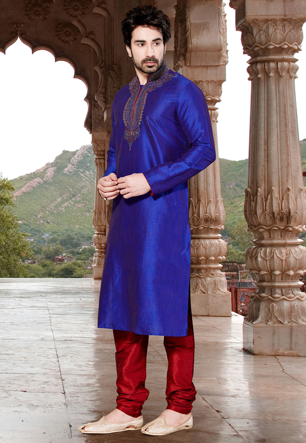 Embroidered Art Silk Kurta Set in Royal Blue