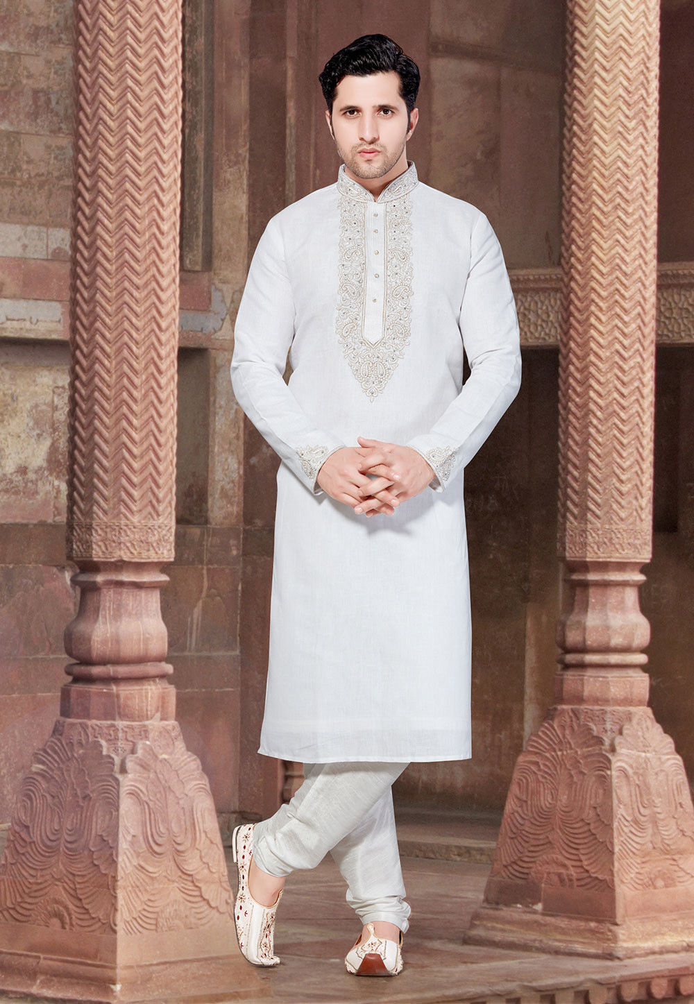 Embroidered Linen Kurta Set in Off White