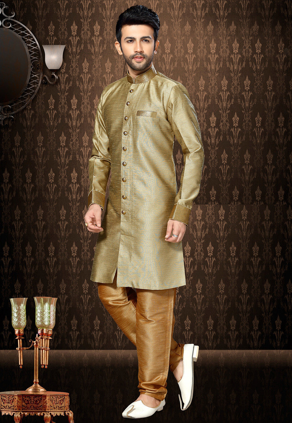 Plain Art Silk Sherwani in Beige