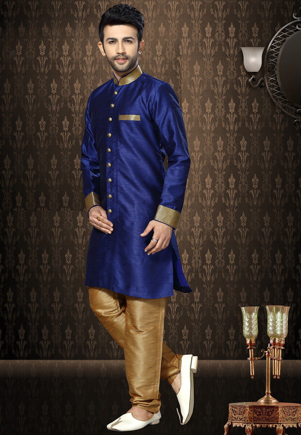 Plain Art Silk Sherwani in Royal Blue
