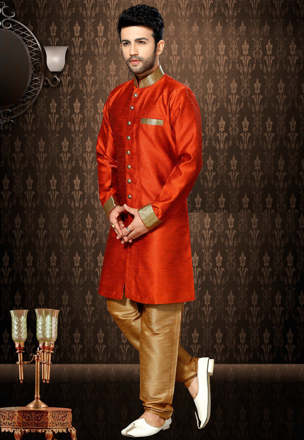Plain Art Silk Sherwani in Rust