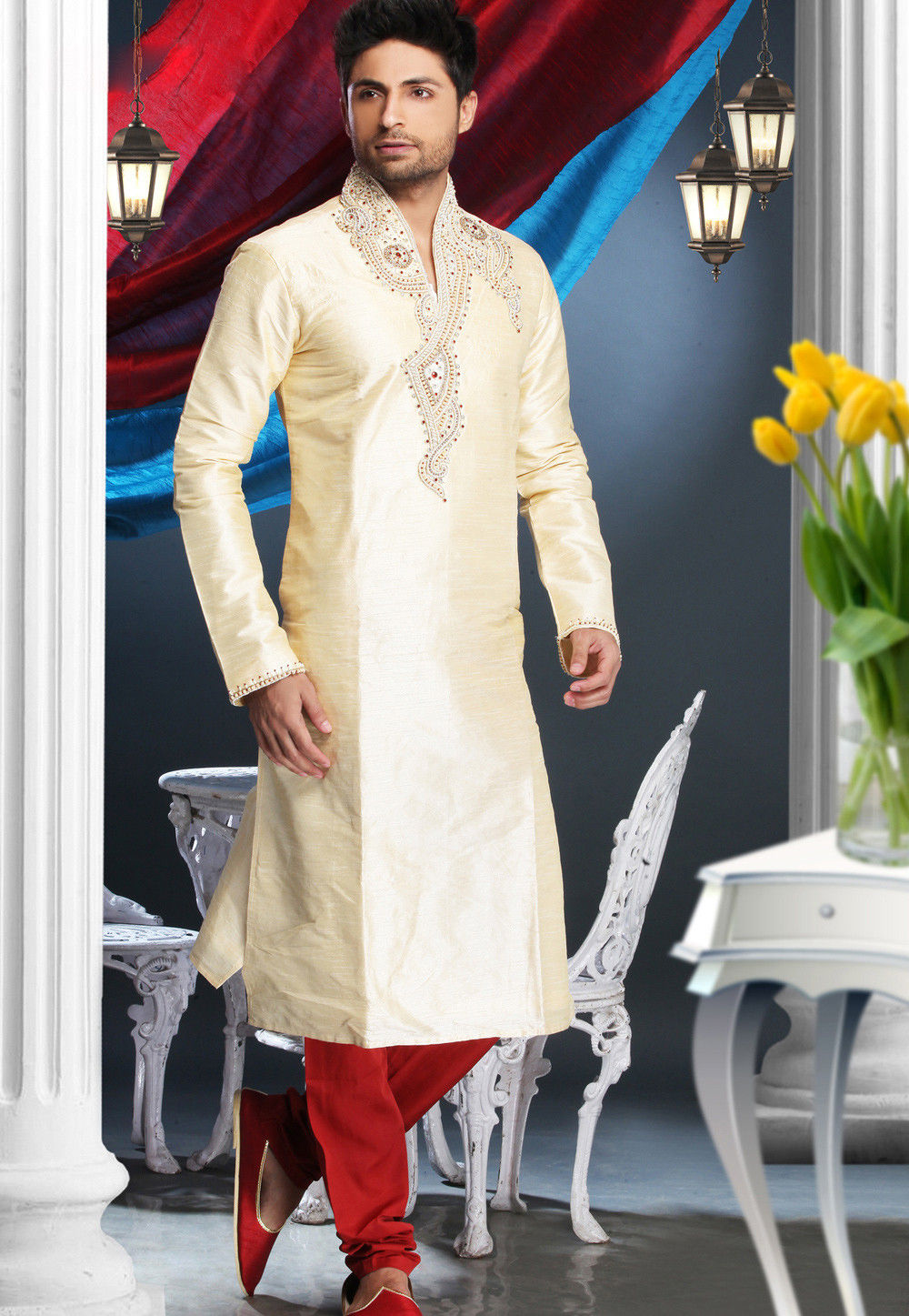 Embroidered Dupion Silk Kurta Churidar in Cream