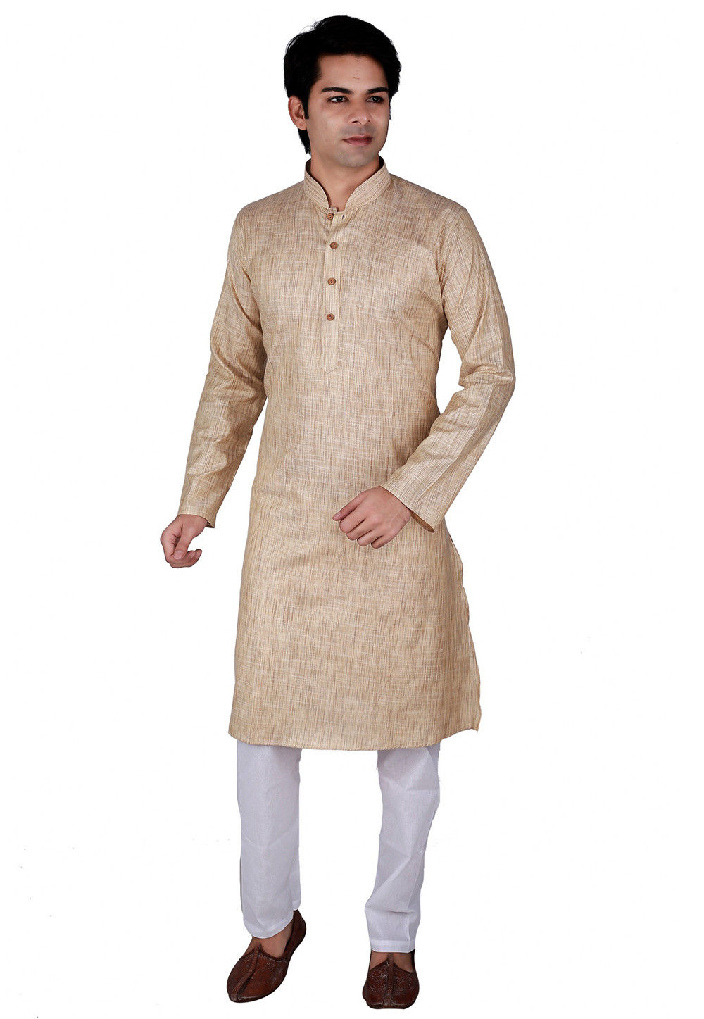 Plain Khadi Cotton Kurta Set in Beige