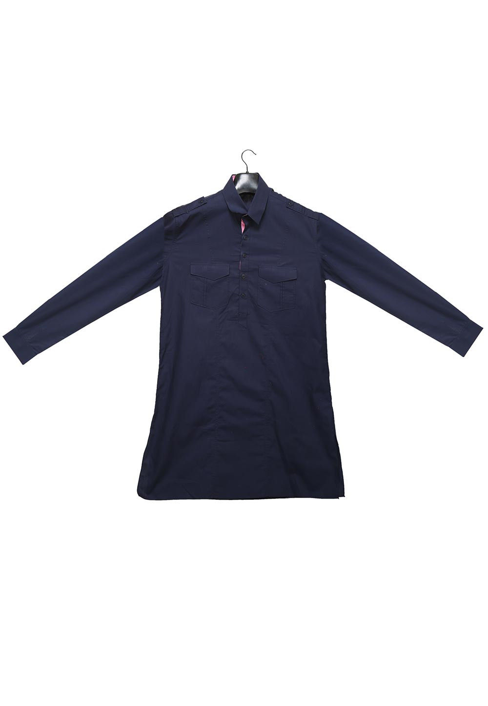 Plain Cotton Kurta in Dark Blue
