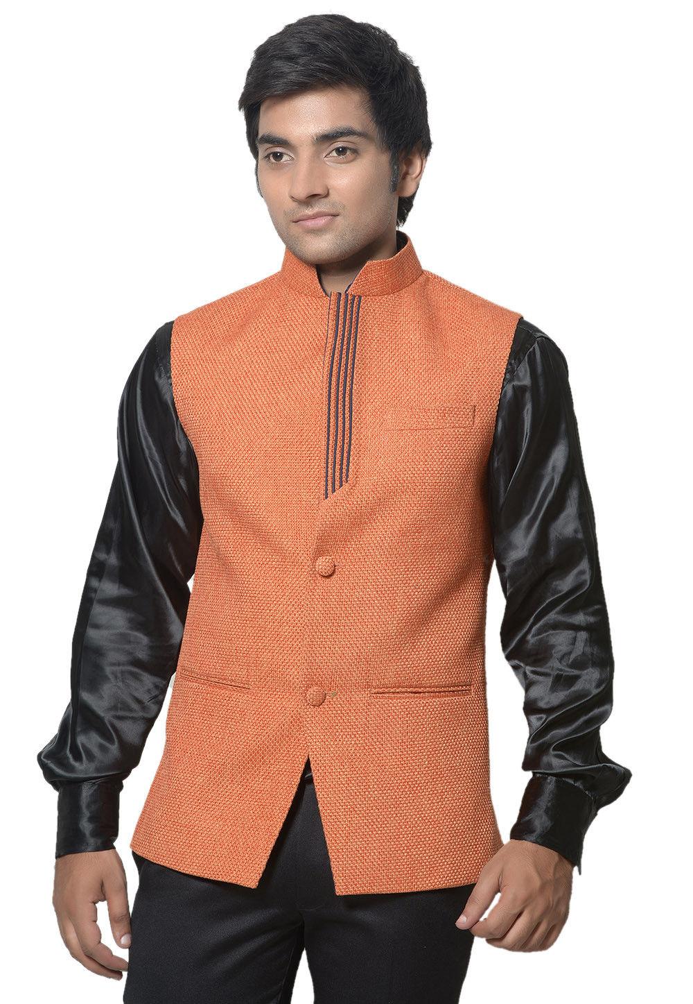 Plain Jute Cotton Nehru jacket in Orange