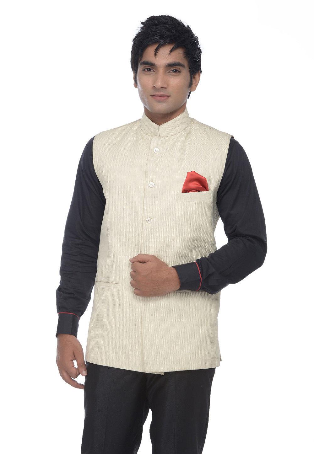 Poly Cotton Nehru Jacket in Cream