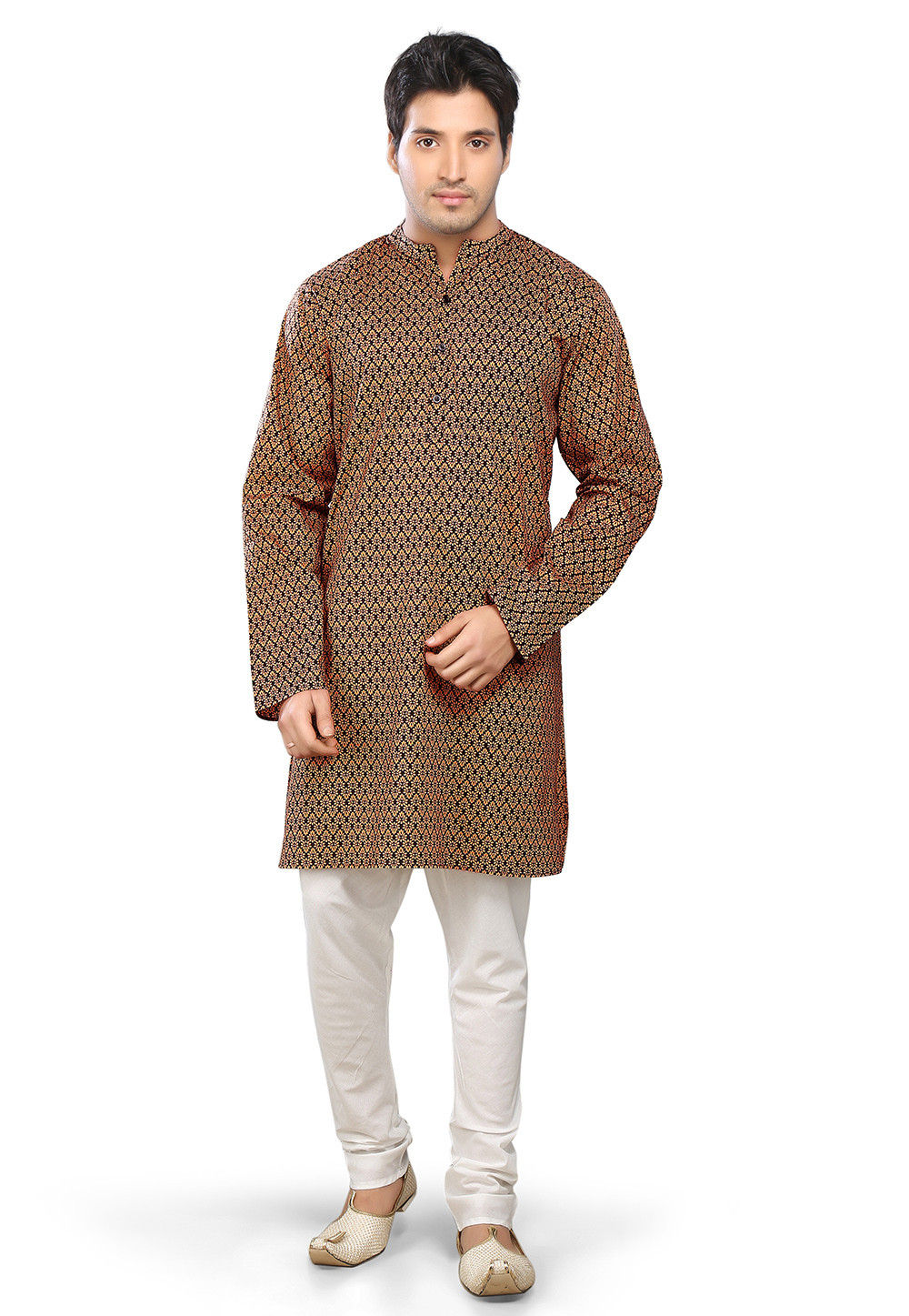 Printed Cotton Kurta Churidar in Beige and Black
