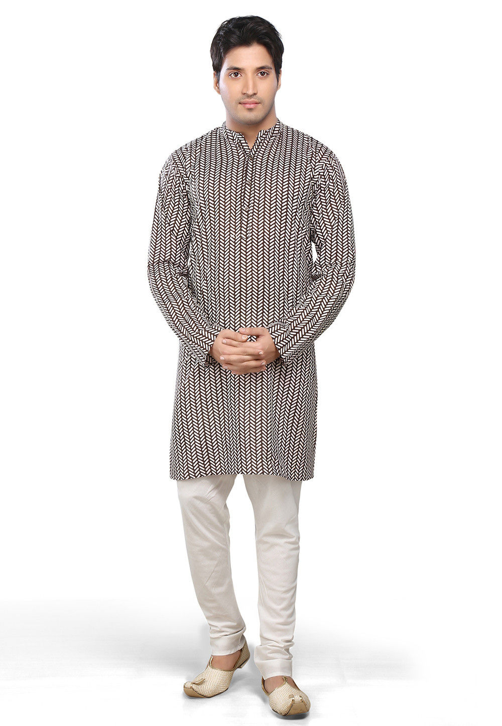 Printed Cotton Kurta Churidar in Black and White