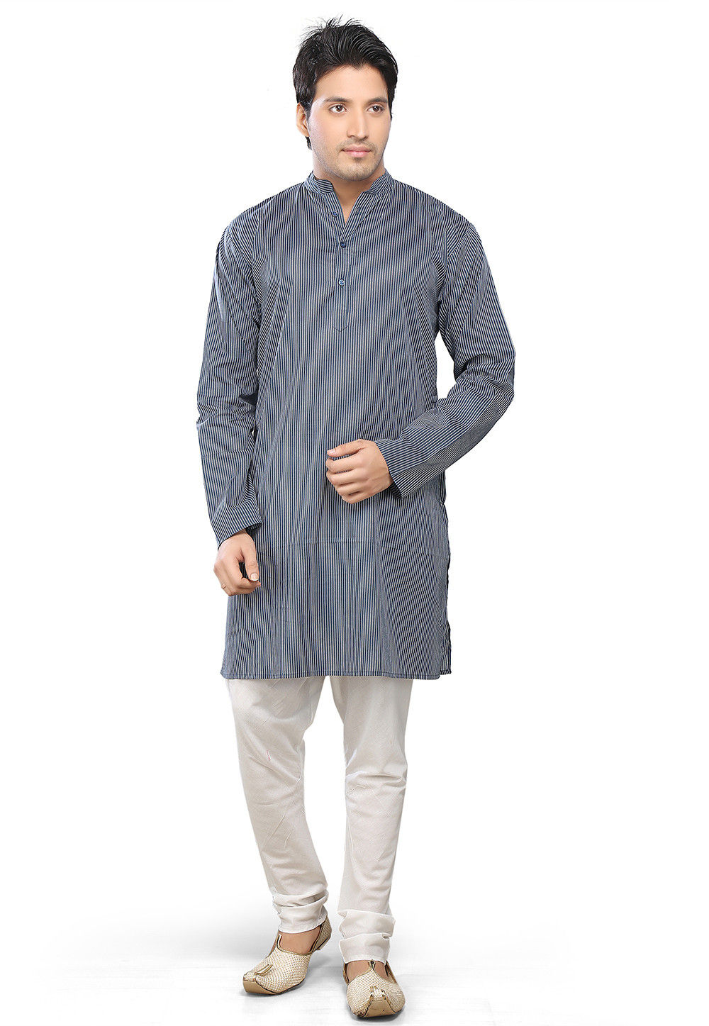 Printed Cotton Kurta Churidar in Grey