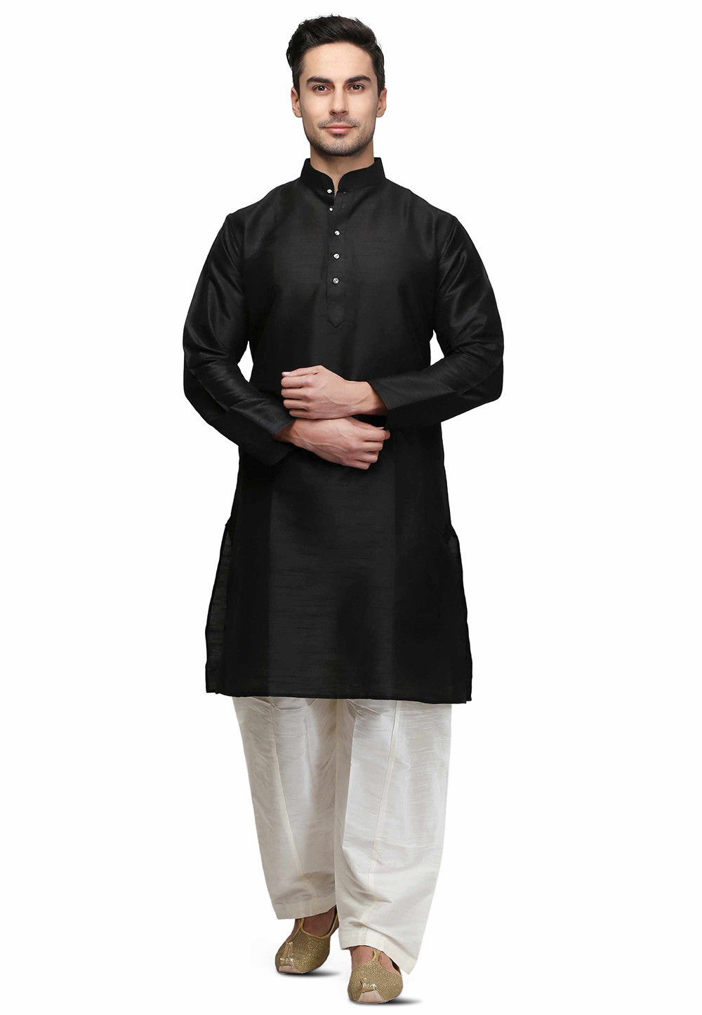 Solid Color Dupion Silk Kurta Set in Black