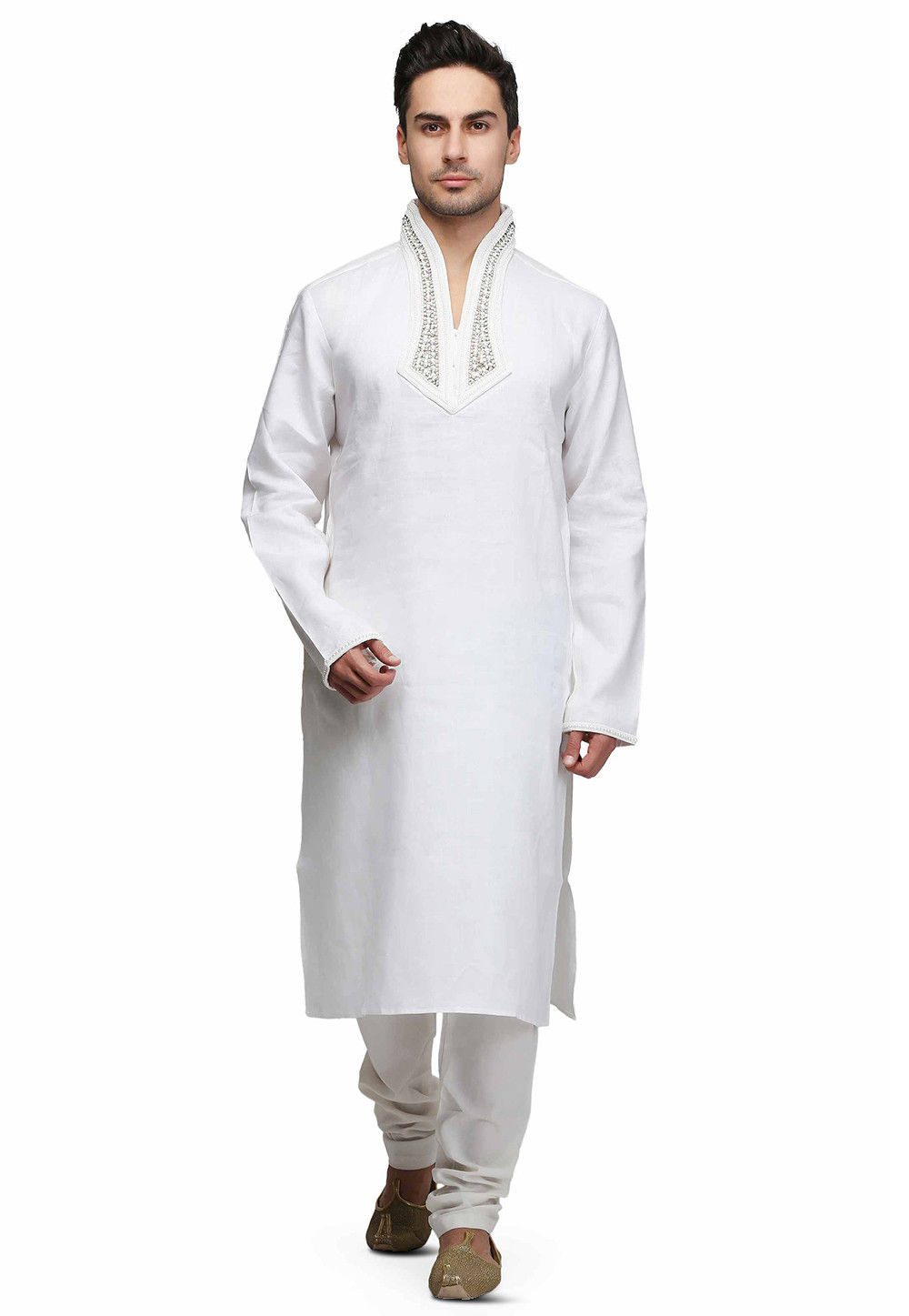 Embroidered Neckline Art Silk Kurta Set in White