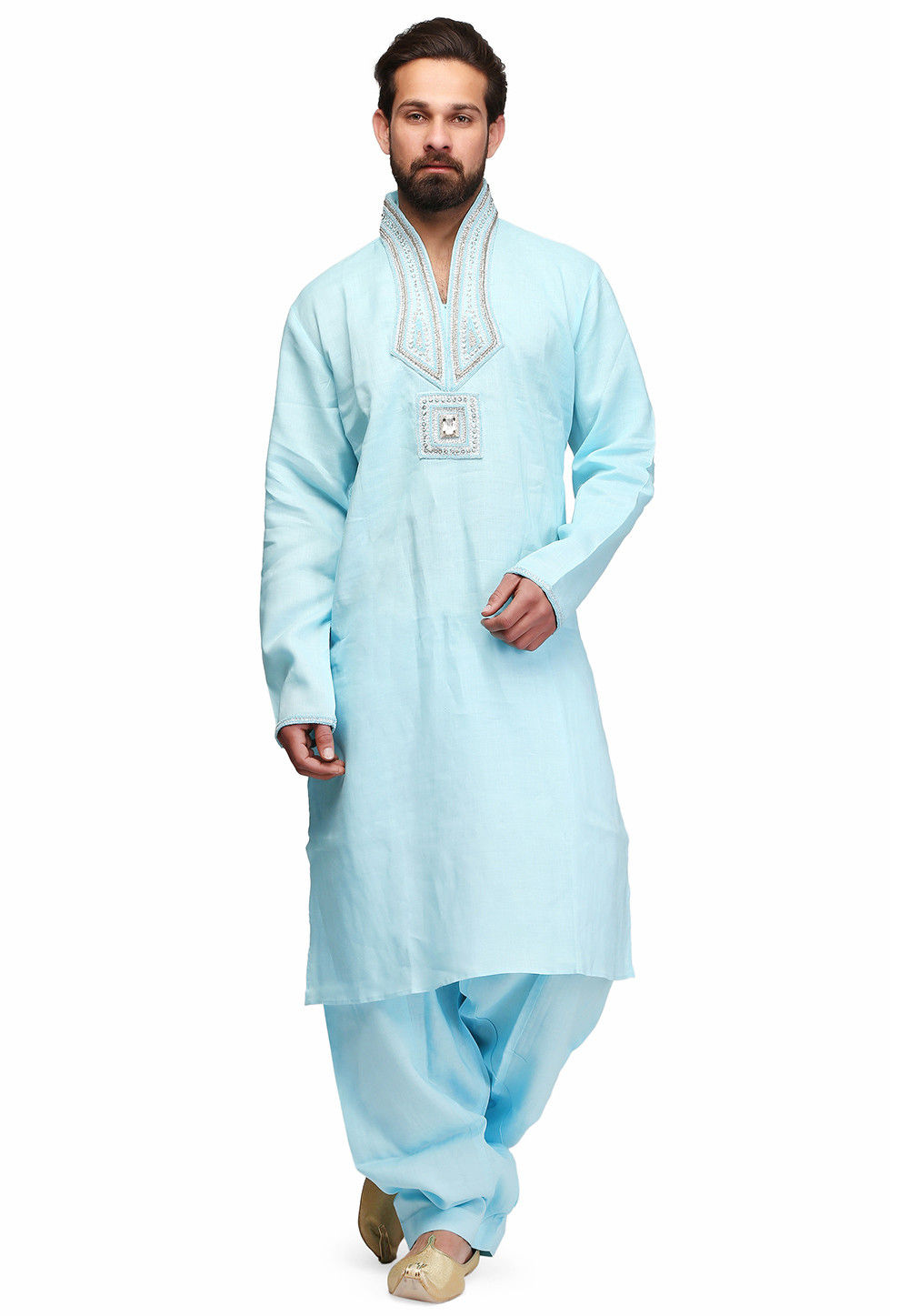 Hand Embroidered Raw silk Kurta Set in Sky Blue