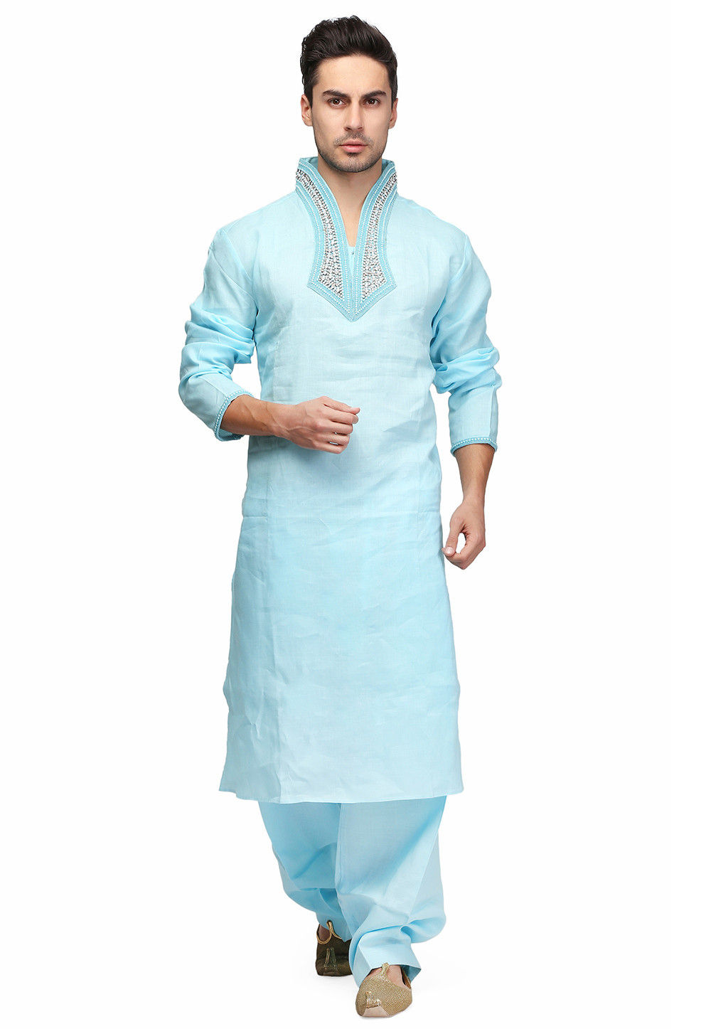Hand Embroidered Cotton Kurta Set in Sky Blue