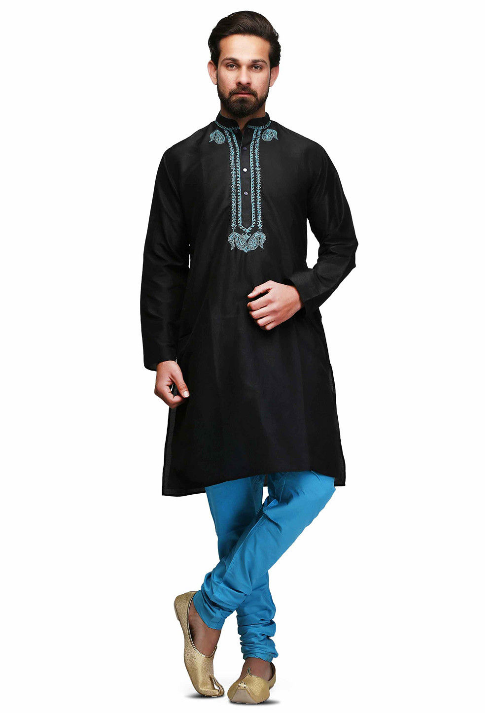 Embroidered Neckline cotton Kurta Set in Black