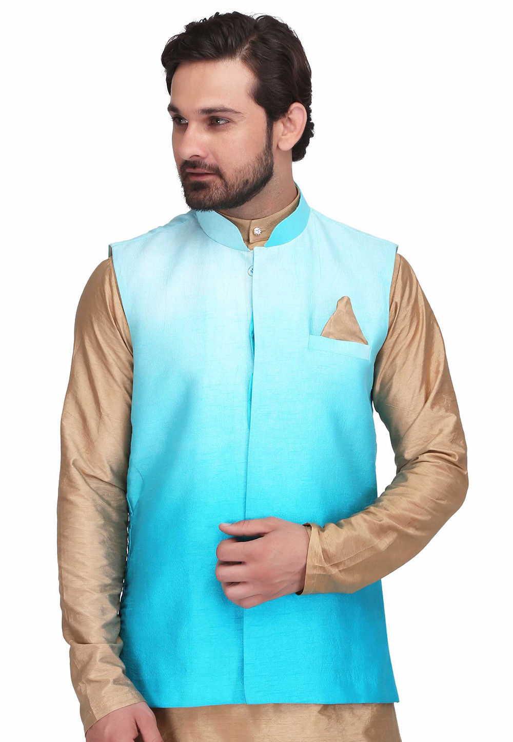 Ombre Art Silk Nehru Jacket in Turquoise
