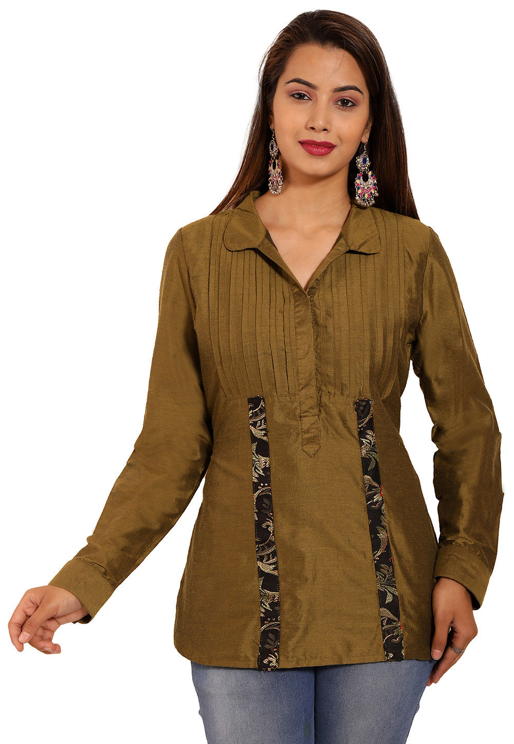 d52f0968108302 Pintucked Cotton Silk Top in Olive Green : TJW1246