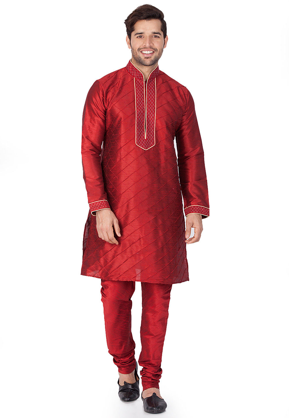 Pintucked Dupion Silk Kurta in Maroon