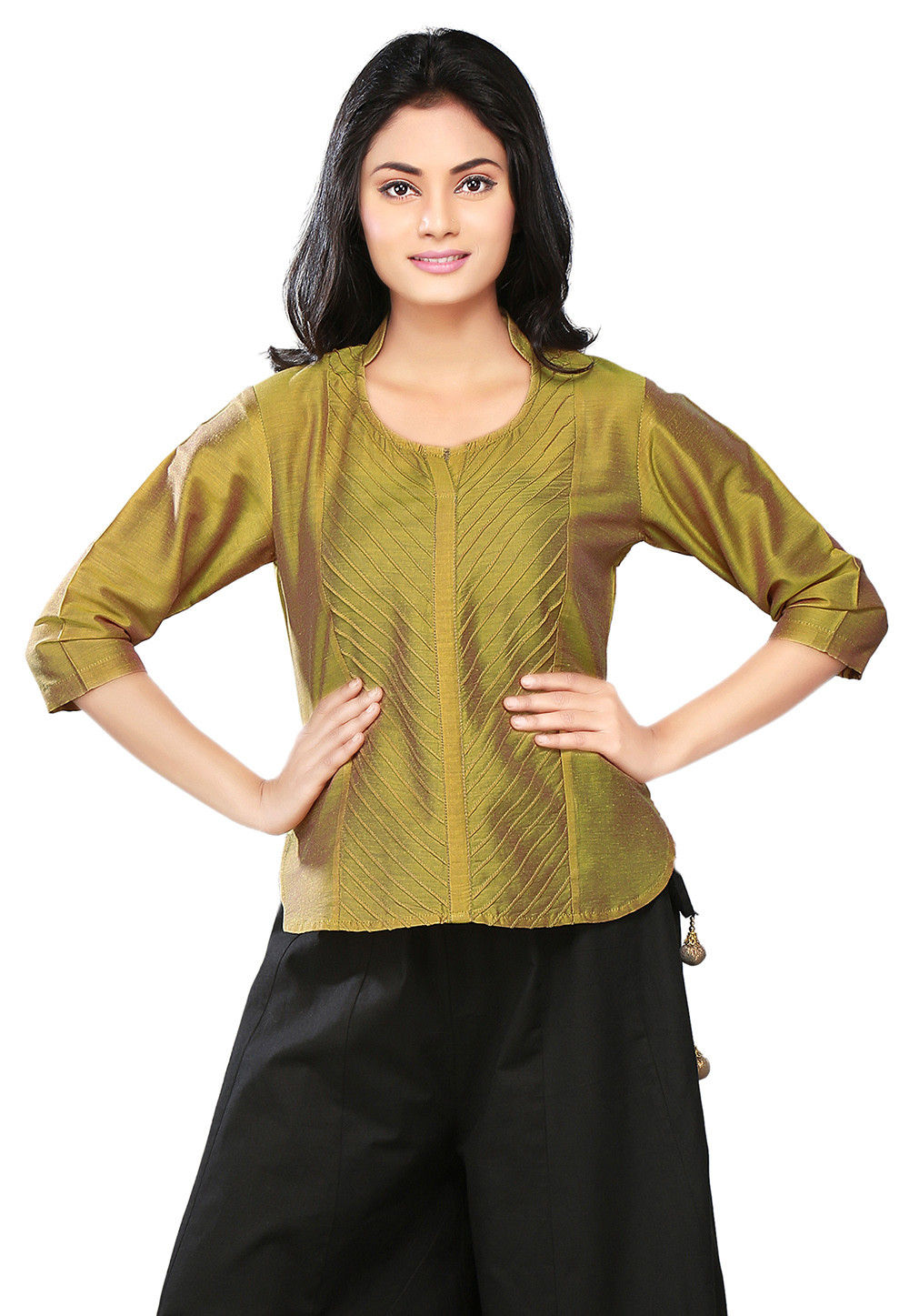 Pintucks Cotton Silk Top in Olive Green