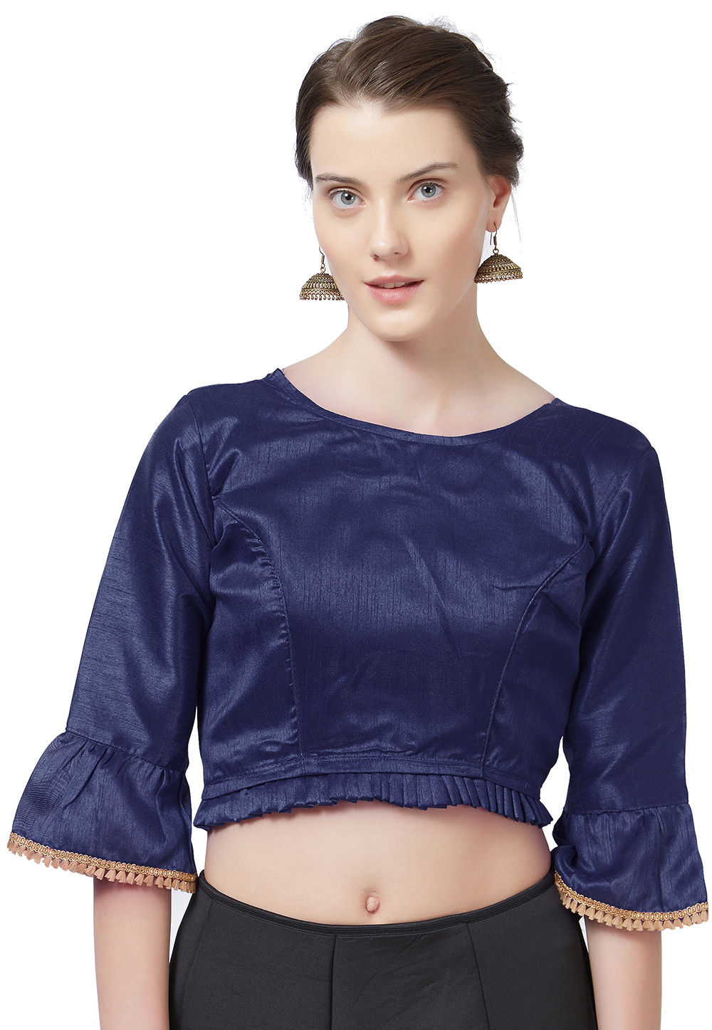 a8c9fdb7b48 Navy Silk Blouse - Image Of Blouse and Pocket
