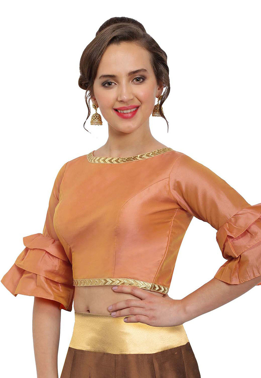 Plain Art Silk Blouse in Pastel Orange