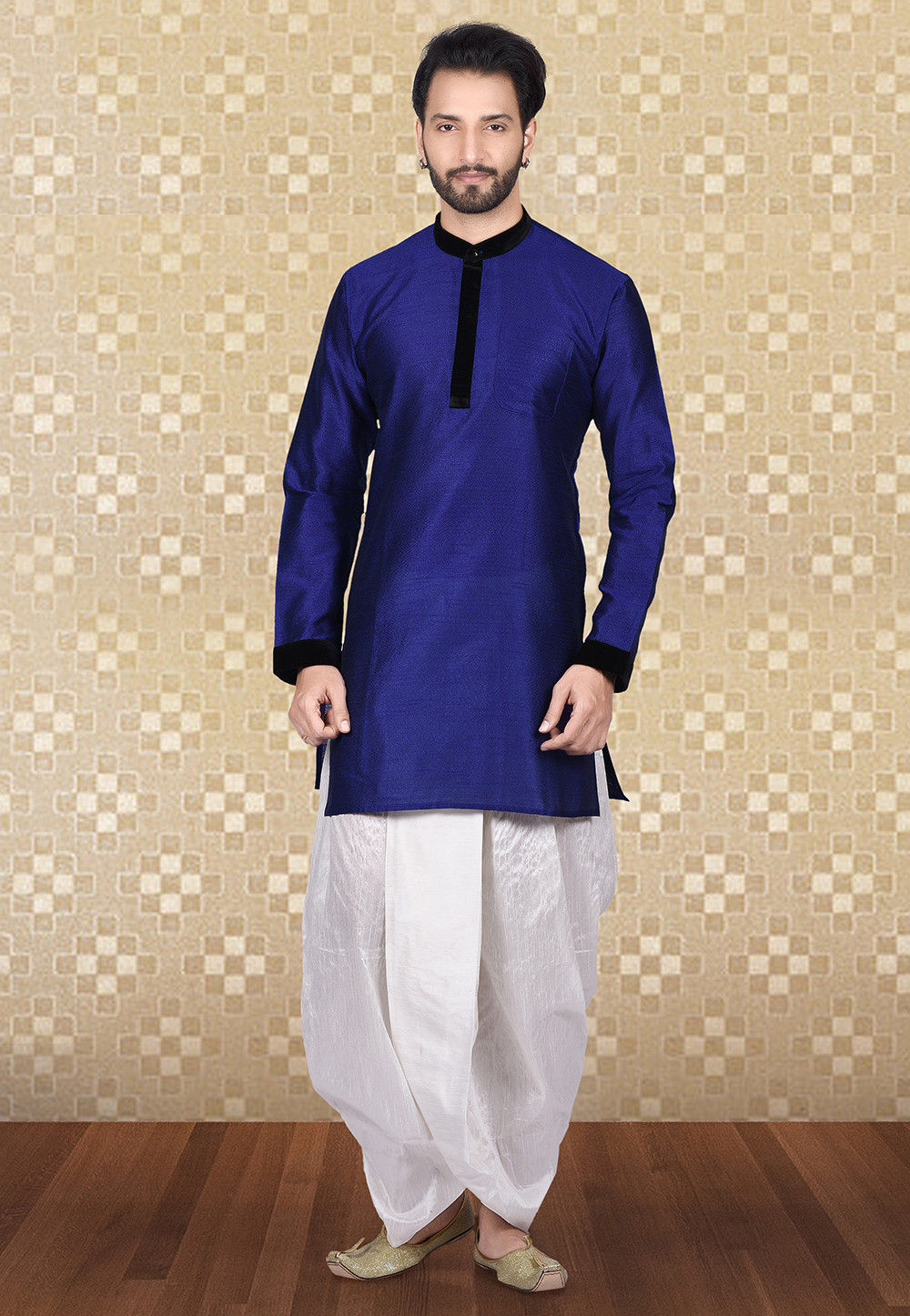 Plain Art Silk Jacquard Dhoti Kurta in Navy Blue