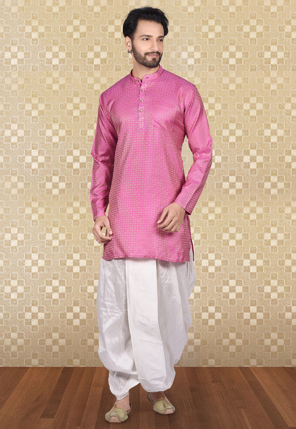 Plain Art Silk Jacquard Dhoti Kurta in Pink