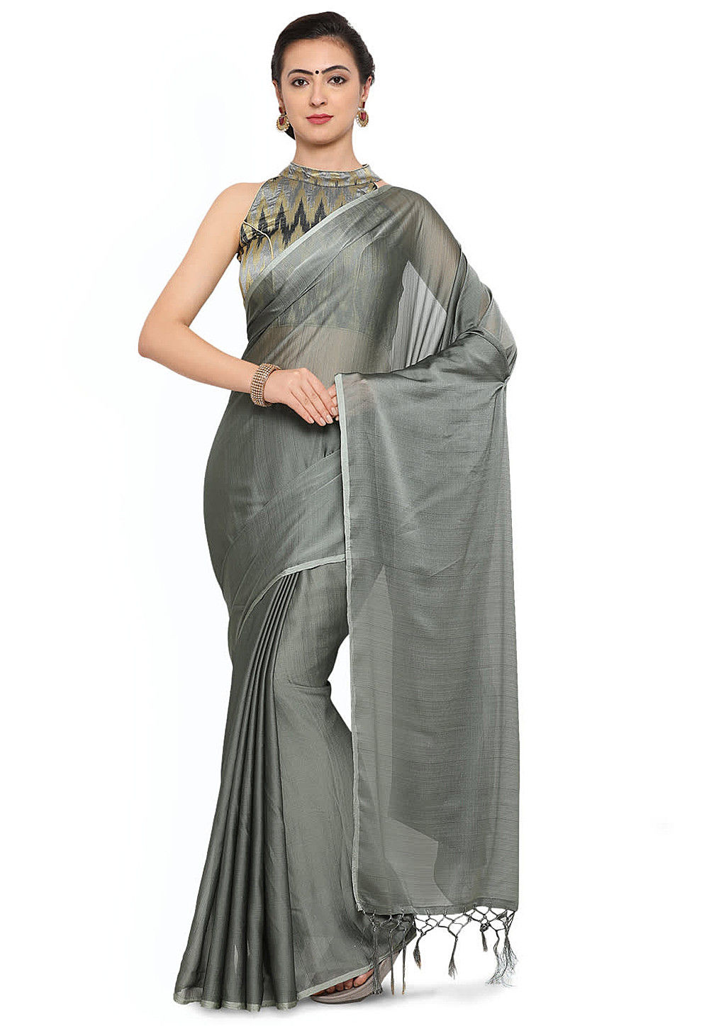 a831e6a3393bd Plain Art Silk Saree in Grey   SEH2068