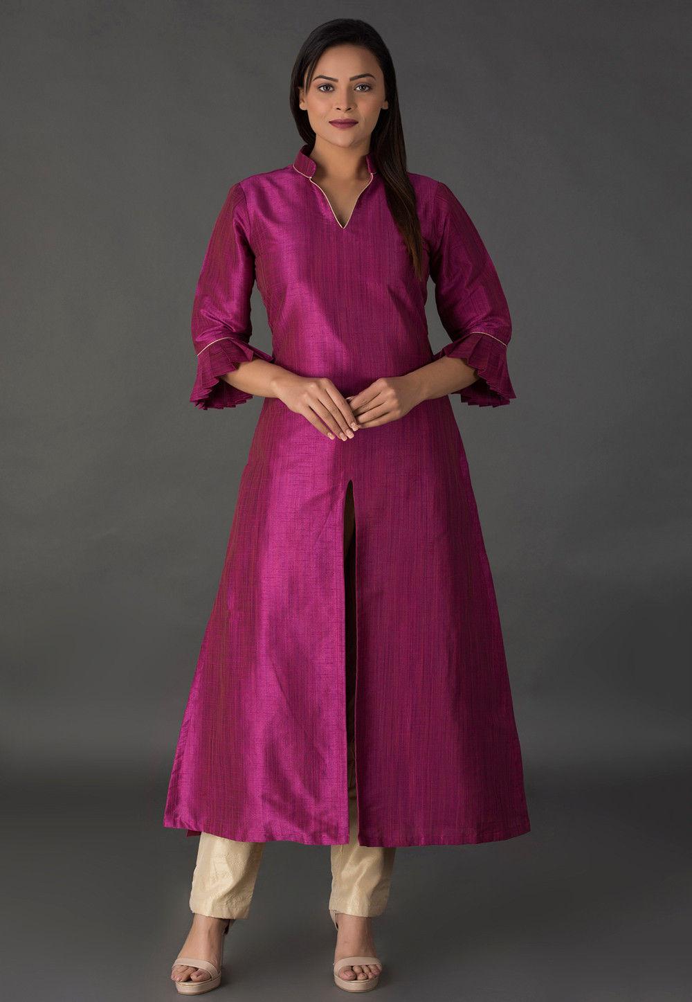 Plain Bhagalpuri Silk Front Slit Long Kurta in Magenta