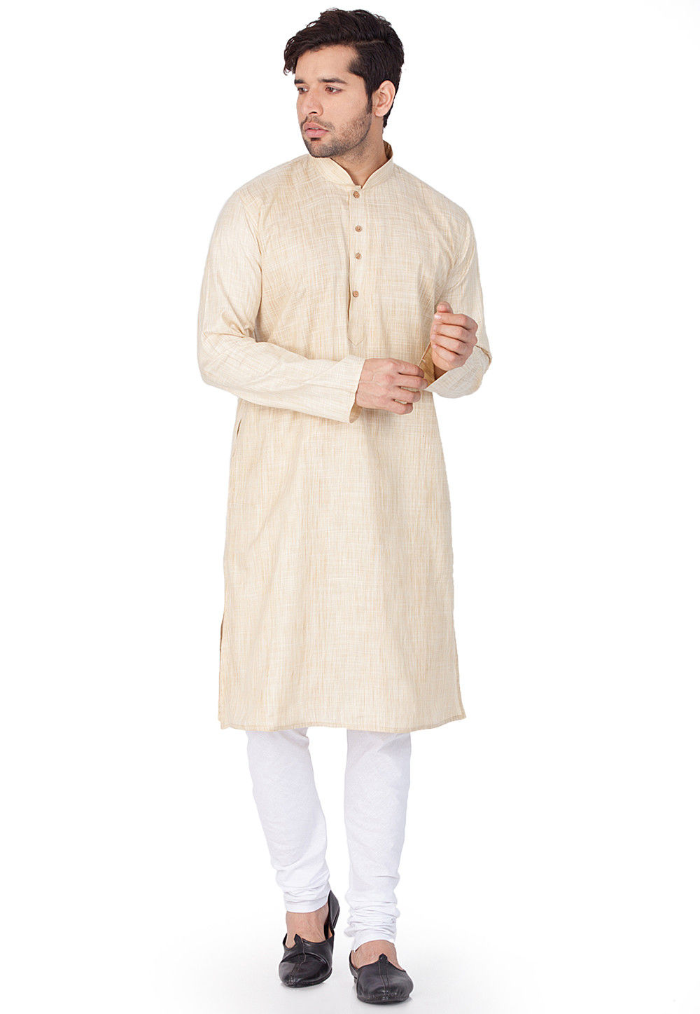 Plain Cotton Kurta in Light Beige
