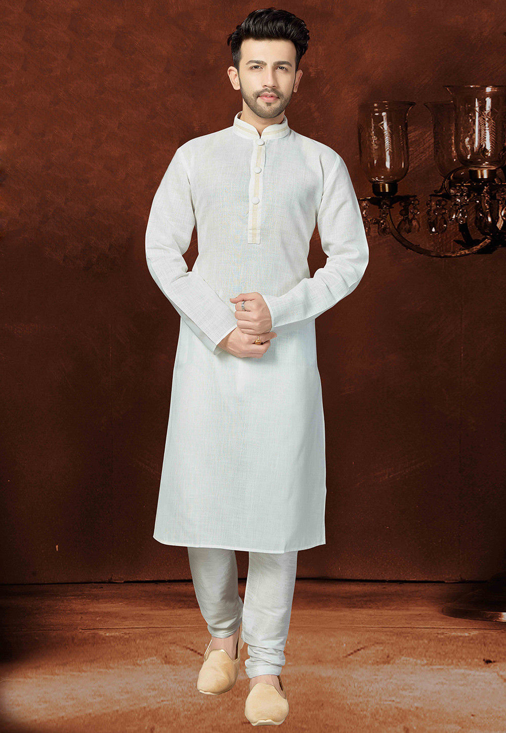 Plain Cotton Kurta Set in Off White