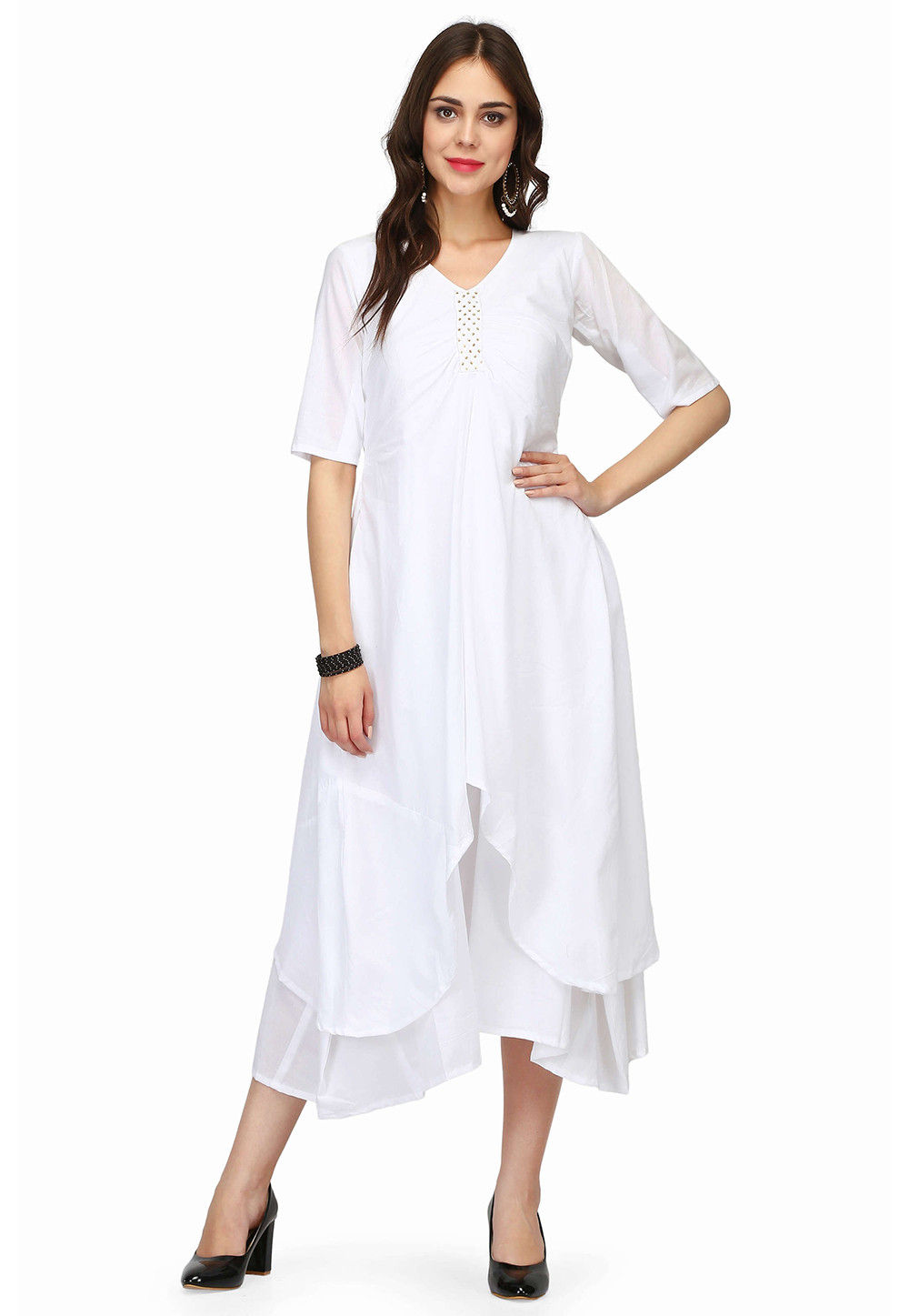 Plain Cotton Layered Kurta in White