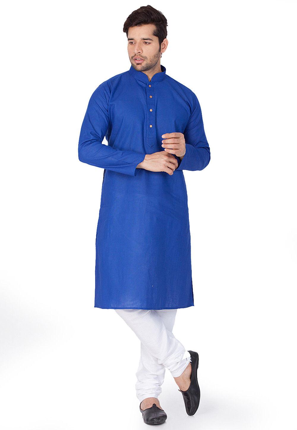 Plain Cotton Linen Kurta in Royal Blue