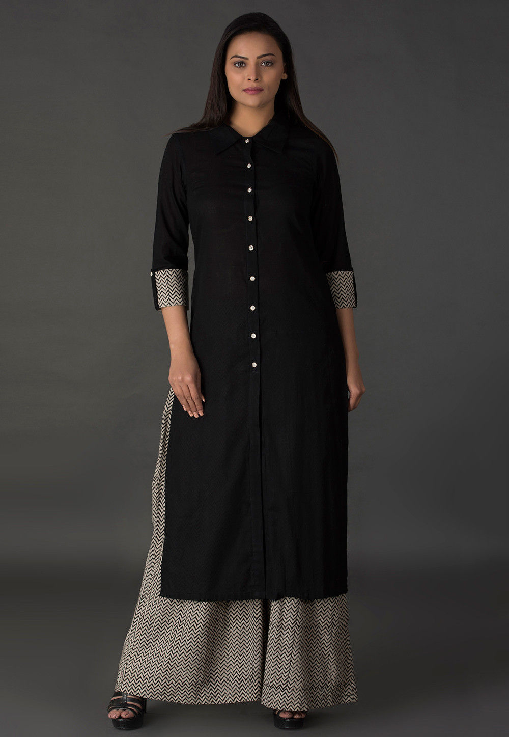 Plain Cotton Long Kurta in Black