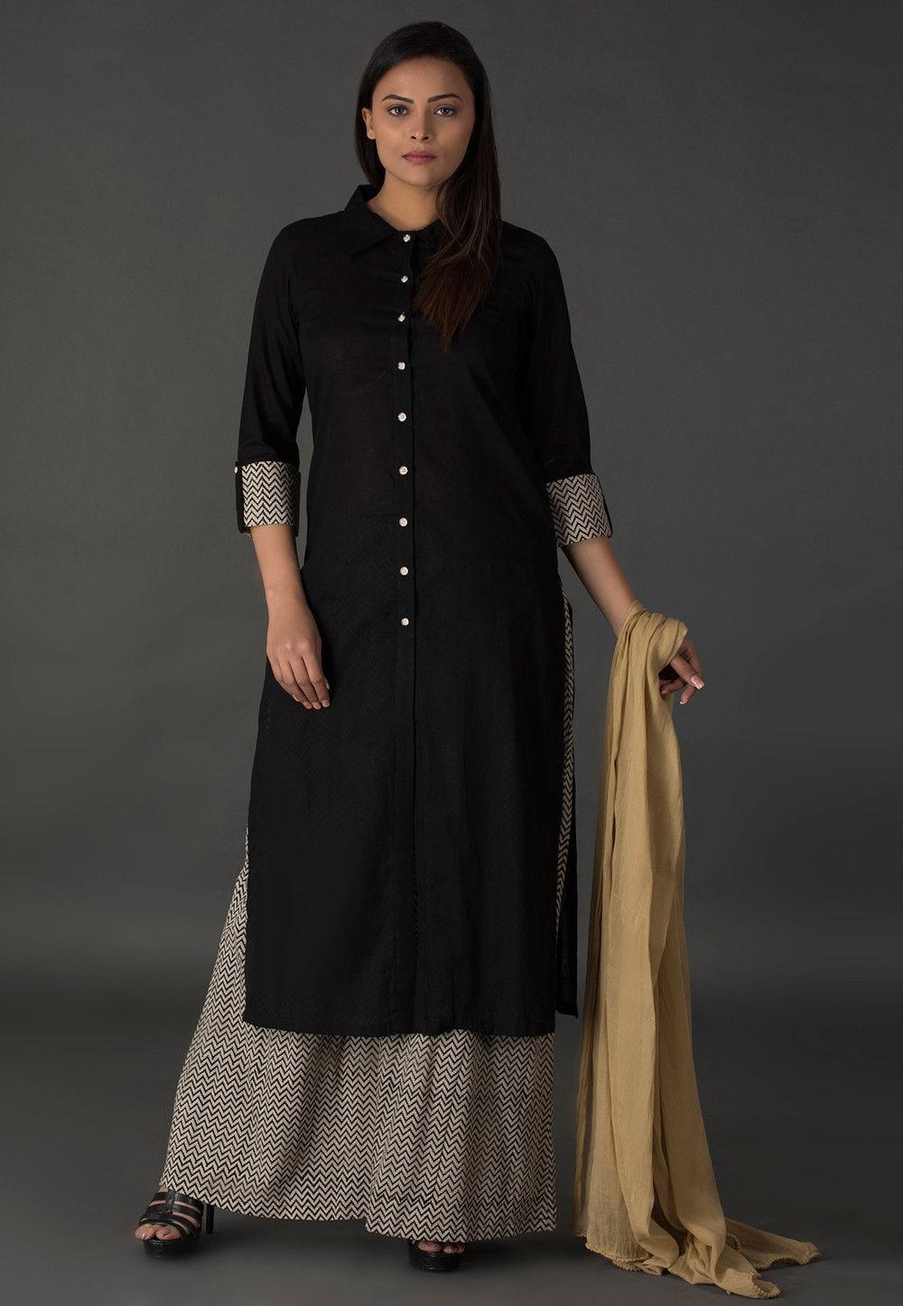 plain cotton pakistani suit in black kjn3149