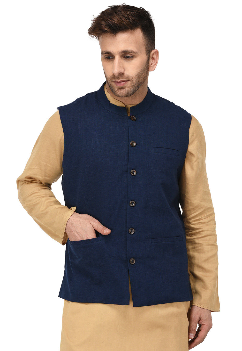 Plain  Cotton Slub Nehru Jacket in Navy Blue