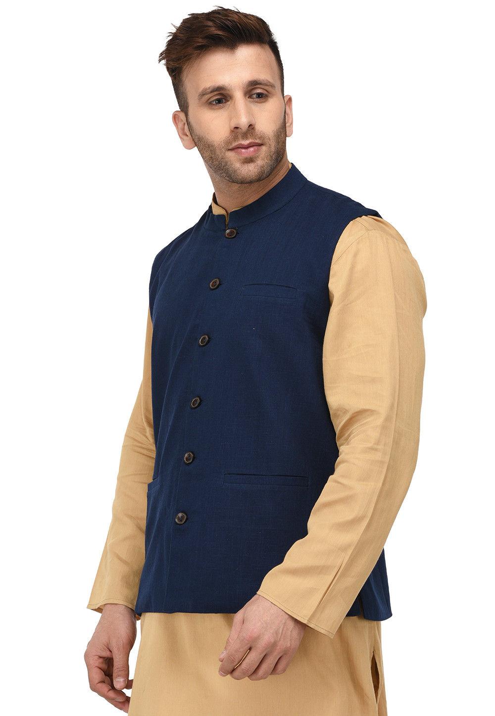 Plain Cotton Slub Nehru Jacket in Navy Blue : MGZ3