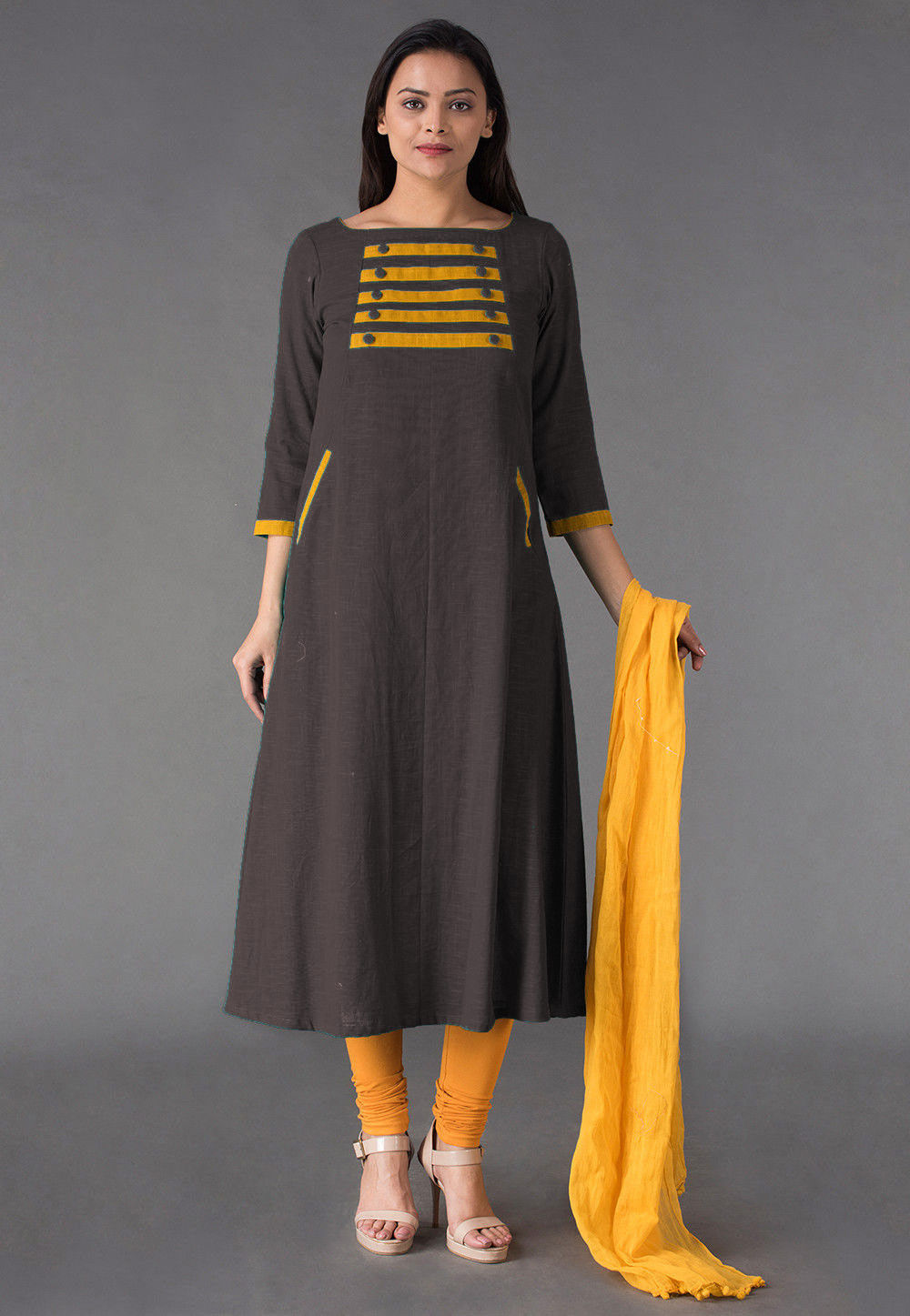 Plain Cotton Slub Straight Suit in Brown