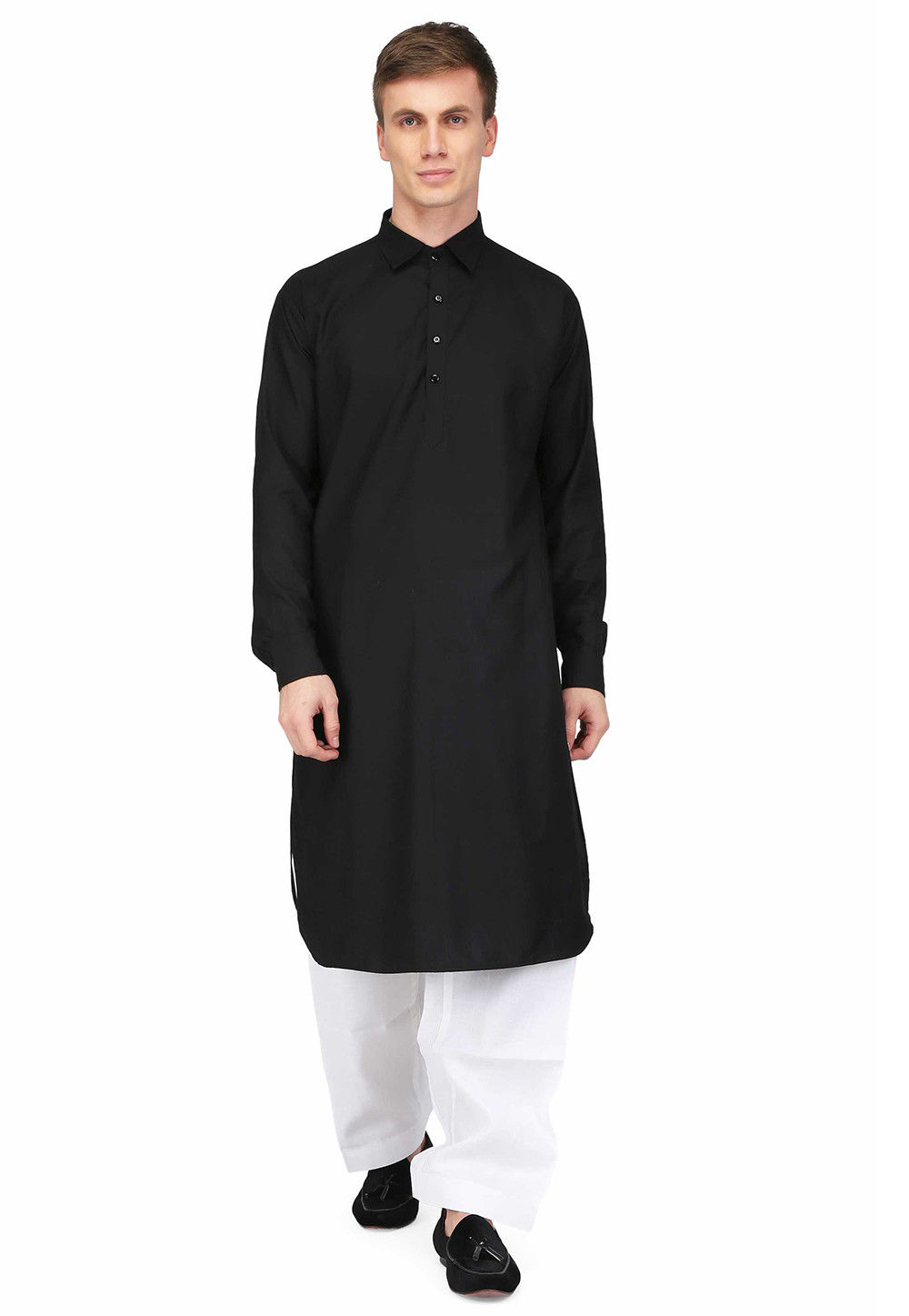 Plain Cotton Straight Kurta in Black