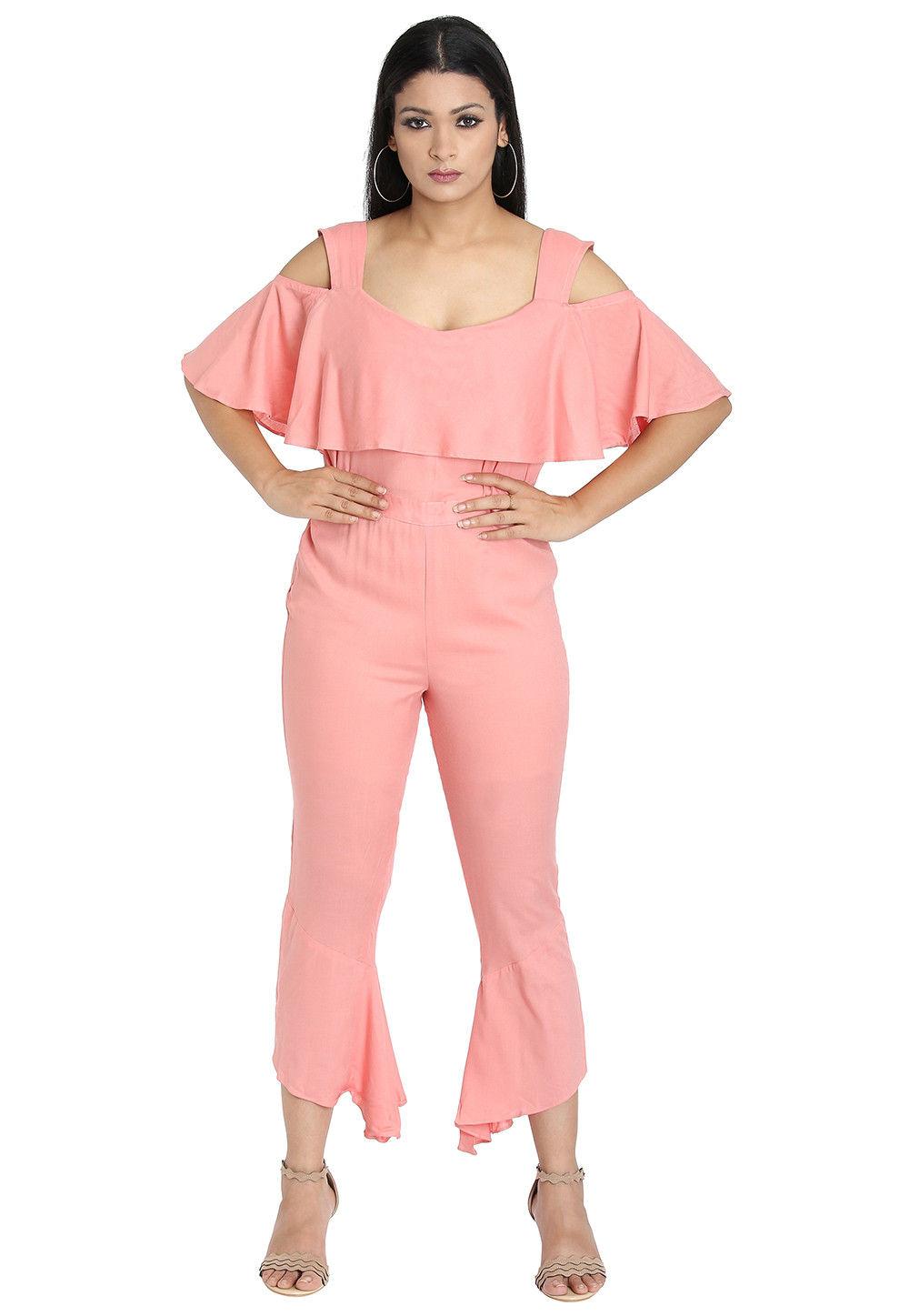 Plain Crepe Jumpsuit in Pink