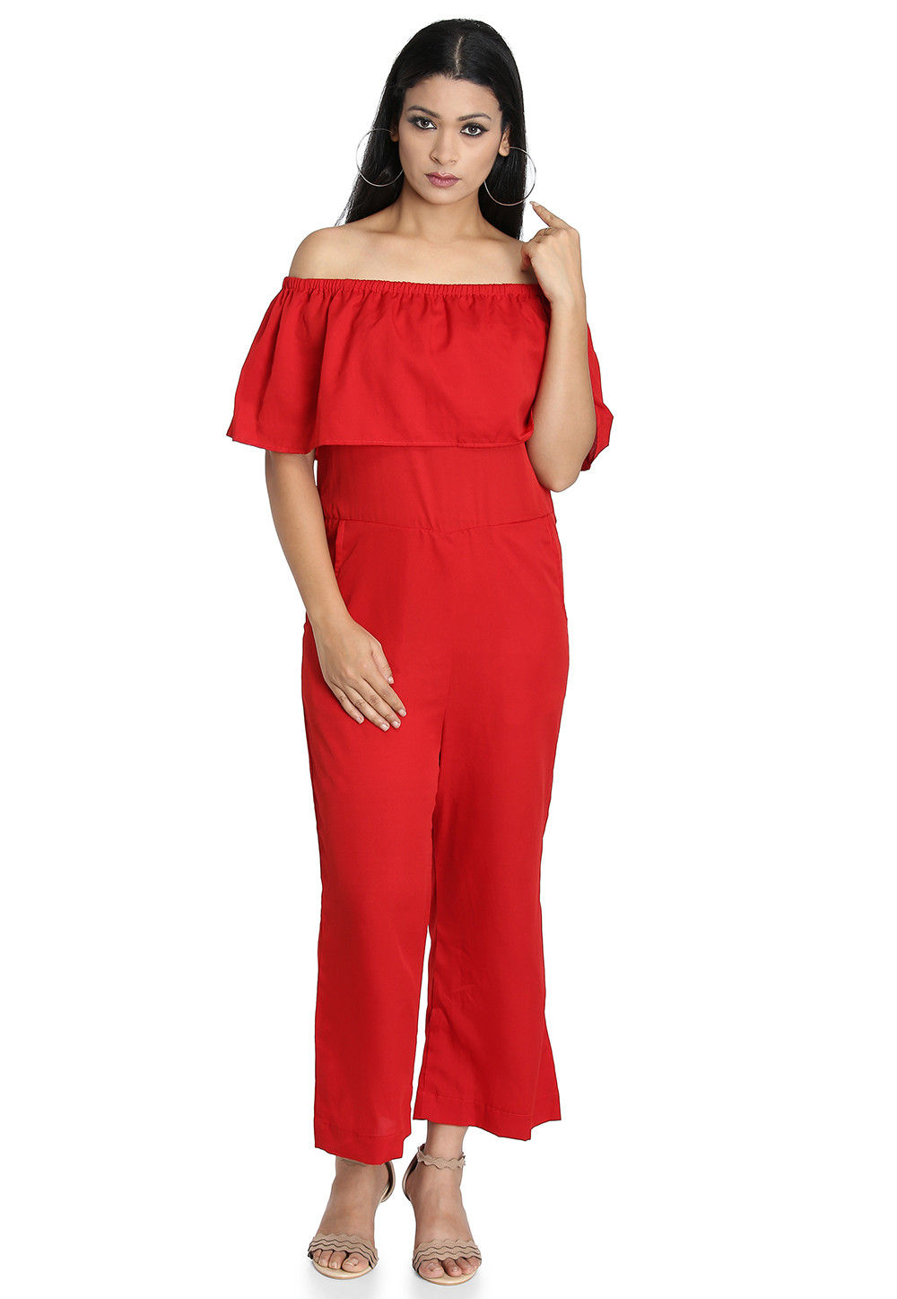 Plain Crepe Jumpsuit in Red
