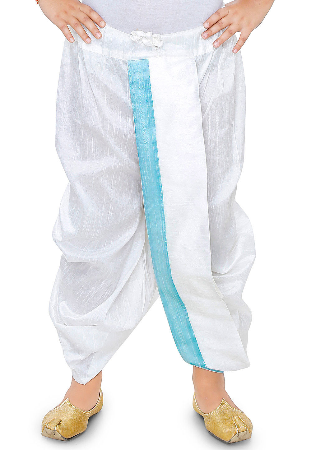 Plain Dupion Silk Dhoti in White