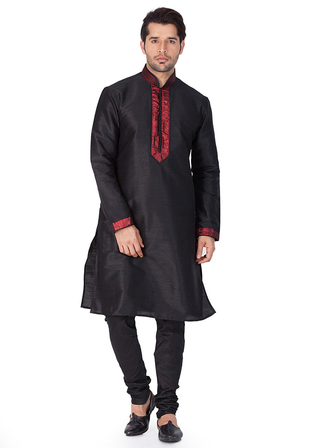 Plain Dupion Silk Kurta in Black