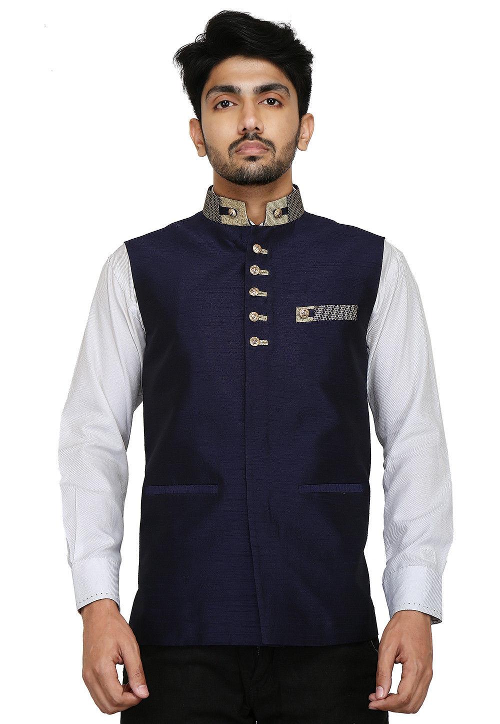 Plain Dupion Silk Nehru Jacket in Navy Blue : MTX50
