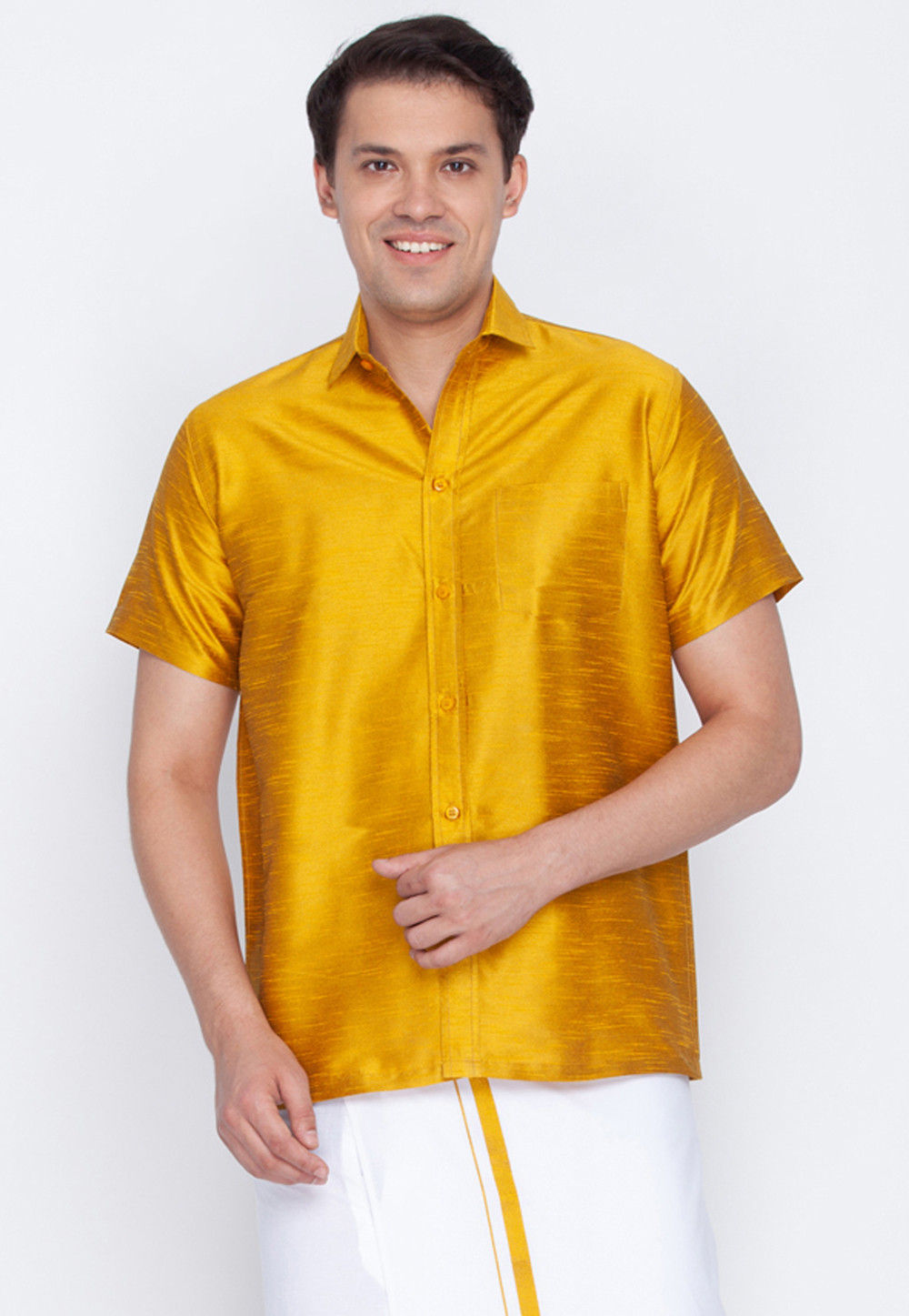 453946e18 ... Plain Dupion Silk Shirt in Mustard. Zoom