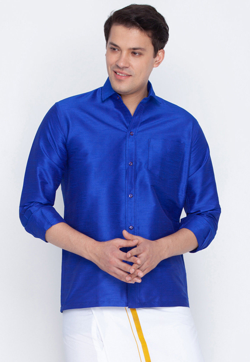 37f101a7f10ebe Plain Dupion Silk Shirt in Royal Blue   MTR691