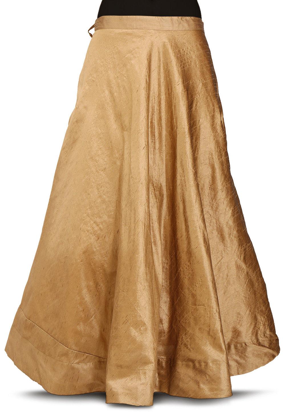 3820dce3e4e5 ... Plain Dupion Silk Skirt in Dark Beige. Zoom