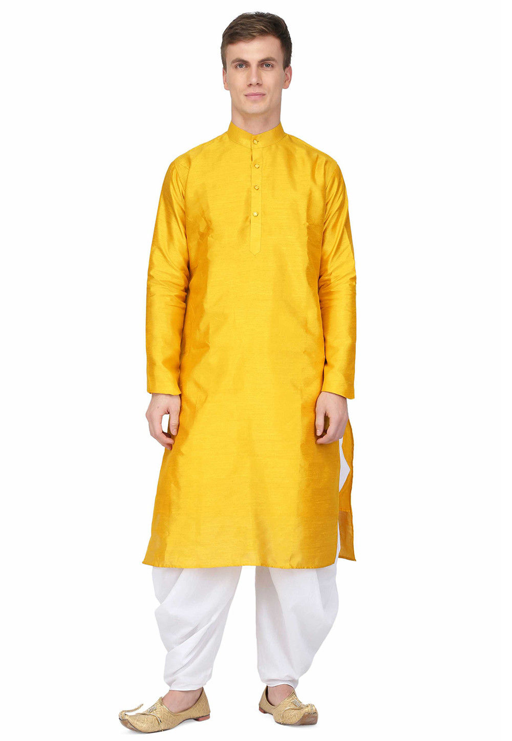 Plain Dupion Silk Straight Kurta in Yellow